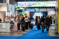 People visiting Bit 2014, international tourism exchange in Milan, Italy Royalty Free Stock Images