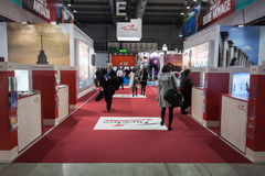 People visiting Bit 2014, international tourism exchange in Milan, Italy Royalty Free Stock Photography