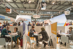 People visiting Bit 2015, international tourism exchange in Milan, Italy. MILAN, ITALY - FEBRUARY 13: People visit Bit, international tourism exchange reference Royalty Free Stock Photography