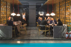 People visiting Bit 2015, international tourism exchange in Milan, Italy Royalty Free Stock Image