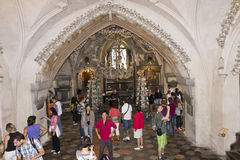 People visiting the Bone church Kostnice. Kostnice, Bone Church, in Kutna hora (Czech republic) is one of the most well known churches in Czech republic. It royalty free stock photography