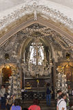 People visiting the Bone church Kostnice. Kostnice, Bone Church, in Kutna hora (Czech republic) is one of the most well known churches in Czech republic. It stock images