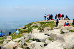 People visiting Brocken Mountain at Harz National Park (Germany) Royalty Free Stock Photography