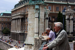 People visiting Buda palace in Budapest. This image presents visitors at  Buda palace in Budapest Royalty Free Stock Photos