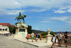 People visiting Buda palace in Budapest. This image presents visitors at  Buda palace in Budapest Royalty Free Stock Images