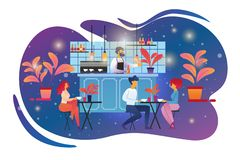 People Visiting Cafe and Drinking Beverages in Bar royalty free illustration