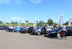 People visiting for the day Renault cars in Krasno Royalty Free Stock Photo