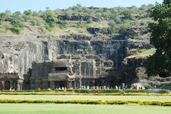 People visiting Ellora-big religious cave complex Royalty Free Stock Photo