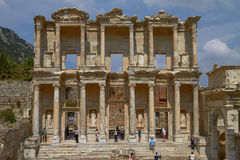 People Visiting and Enjoying Ancient Celsius Library in Ephesus Turkey Stock Image