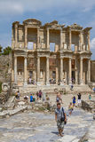 People Visiting and Enjoying Ancient Celsius Library in Ephesus Royalty Free Stock Photos
