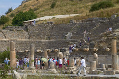 People Visiting and Enjoying Ancient Ruins in Ephesus Turkey Stock Photos