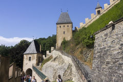People visiting the famous Karlstejn castle, Czech republic Stock Photos