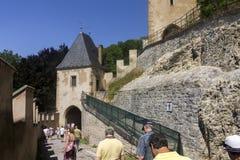 People visiting the famous Karlštejn Castle, Czech republic Stock Image