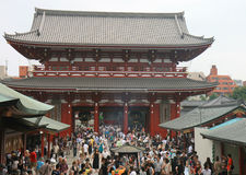 People visiting Famous Senso-ji temple at Asakusa Royalty Free Stock Photography
