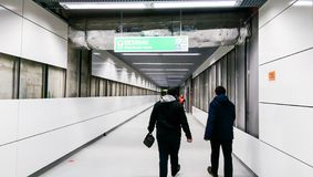 People visiting the Favorit subway station from the 5th Bucharest line Royalty Free Stock Photo