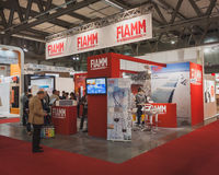 People visiting Fiamm stand at Solarexpo 2014 in Milan, Italy Stock Image