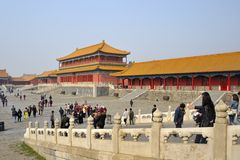 People visiting Forbidden City. Beijing stock images
