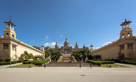 People are visiting Fountain and National Museum of Catalonia at Montjuic hill in Barcelona, Placa De Espanya, Spain. Royalty Free Stock Photo