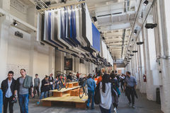 People visiting Fuorisalone during Milan Design Week 2015 Royalty Free Stock Photography