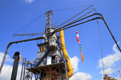 People visiting gigantic steam crane in Dordrecht. Stock Images