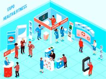 Isometric Expo Illustration. People visiting health and fitness expo with promotional stands and various products for healthy lifestyle 3d isometric vector Stock Photos