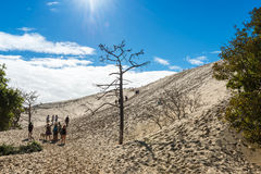 People visiting the highest sand dune of Pyla in Europe Stock Photo