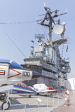 People visiting Intrepid Sea, Air and Space Museum. Royalty Free Stock Photo