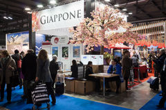 People visiting Japan stand at Bit 2014, international tourism exchange in Milan, Italy Stock Photo