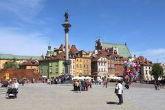 People visiting  Kind Sigismund's Column at Castle  Square in Warsaw,Poland Royalty Free Stock Images