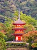 People visiting Koyasu Pagoda at Kiyomizu-dera temple in Kyoto. Kyoto, Japan - November 2, 2018: People visiting Koyasu Pagoda -close up view from Kiyomizu-dera royalty free stock photography
