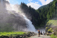 People visiting Krimml waterfalls in high tauern national park Royalty Free Stock Photo