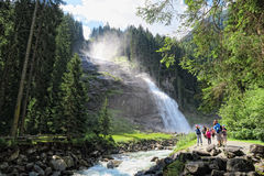People visiting Krimml waterfalls in high tauern national park Stock Photography