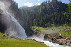 People visiting Krimml waterfalls in high tauern Royalty Free Stock Image