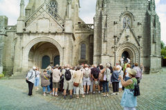 People visiting locronan in brittany Royalty Free Stock Image