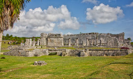 People visiting the Mayan ruins in Tulum Stock Images