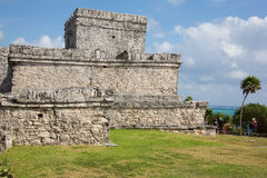 People visiting the Mayan ruins in Tulum Royalty Free Stock Photo
