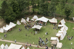 People visiting the medieval games in Bouillon belgium. People visiting the tents and play medieval games in Bouillon belgium Stock Image