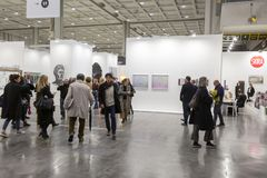 People visiting Miart 2019 in  Milan, Italy stock images