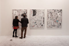 People visiting Miart 2014 in Milan, Italy Stock Photo