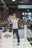 People visiting Nintendo stand at Games Week 2014 in Milan, Italy Royalty Free Stock Photography