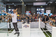 People visiting Nintendo stand at Games Week 2014 in Milan, Italy Stock Images