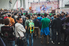 People visiting Orient Festival in Milan, Italy Stock Photo