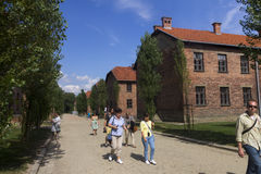 People visiting the Outdoors of Auschwitz I camp Royalty Free Stock Image