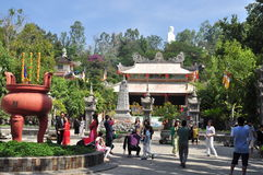 People are visiting pagoda on the first day of the lunar new year in Vietnam Royalty Free Stock Images
