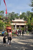 People are visiting pagoda on the first day of the lunar new year in Vietnam Royalty Free Stock Image