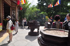 People are visiting pagoda on the first day of the lunar new year in Vietnam Stock Photography