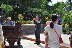 People are visiting pagoda on the first day of the lunar new year in Vietnam Stock Images