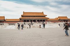 People visiting the Palace Museum at Forbidden City in Beijing, China September 26, 2017: Stock Image