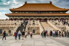 People visiting the Palace Museum at Forbidden City in Beijing, China September 26, 2017: Stock Photography