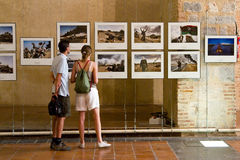 People visiting a photo exhibition Royalty Free Stock Images